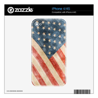 Vintage Painted Look American Flag Decal For The iPhone 4S