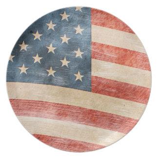 Vintage Painted Look American Flag Plate