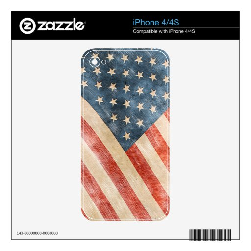 Vintage Painted Look American Flag Skins For The iPhone 4S
