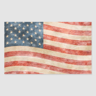 Vintage Painted Look American Flag Rectangle Sticker