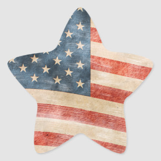 Vintage Painted Look American Flag Stickers
