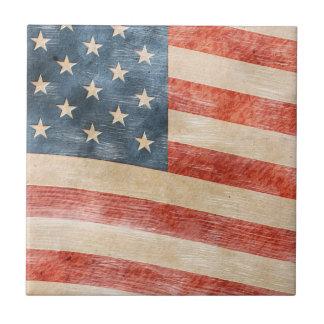 Vintage Painted Look American Flag Tile