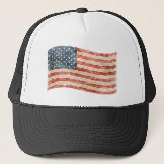 Vintage Painted Look American Flag Trucker Hat