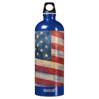 Vintage Painted Look American Flag Water Bottle