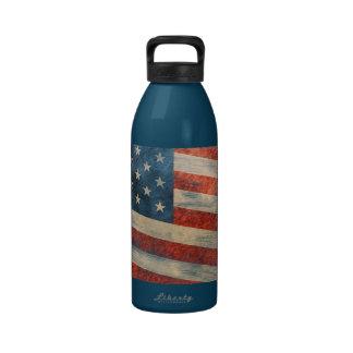 Vintage Painted Look American Flag Reusable Water Bottles
