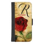 Vintage Painted Red Rose Ladies Monogram iPhone iPhone 8/7 Plus Wallet Case