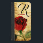 "Vintage Painted Red Rose Ladies Monogram iPhone iPhone 8/7 Plus Wallet Case<br><div class=""desc"">Sophisticated, stylish, and elegantly feminine vintage painted red rose on aged chic grunge background. iPhone case for professional ladies and women with script monogram initial and name, or add your own personalized text, corporate identity, or company name. Click &quot; It&quot; to change the font size, color or style. Makes a...</div>"