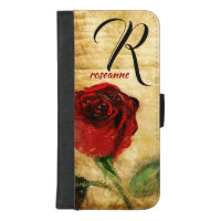 Vintage Painted Red Rose Ladies Monogram iPhone iPhone 8/7 Plus Wallet Case
