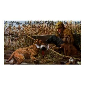Vintage Painted Retrievers with Duck Hunter Poster