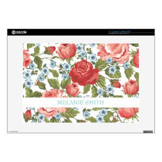 Vintage Painted Rose Vines Pattern Laptop Decals