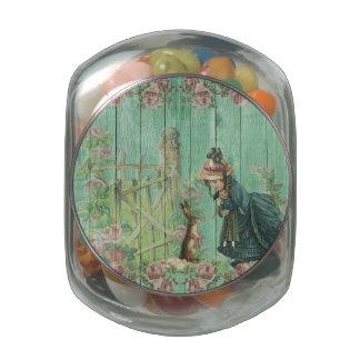 Vintage Painted Rustic Easter Rabbit Scene Glass Jars