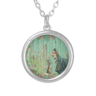 Vintage Painted Rustic Easter Rabbit Scene Silver Plated Necklace