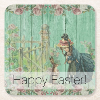 Vintage Painted Rustic Easter Rabbit Scene Square Paper Coaster