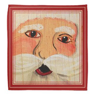 Vintage Painted Santa Clause Face Weathered Bandana