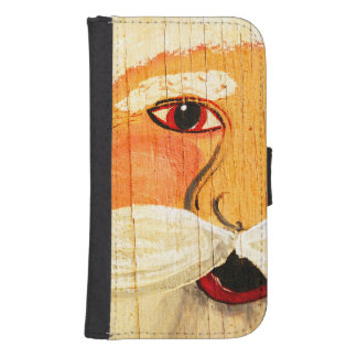 Vintage Painted Santa Clause Face Weathered Galaxy S4 Wallet Case