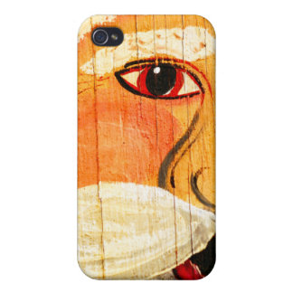 Vintage Painted Santa Clause Face Weathered iPhone 4 Cover
