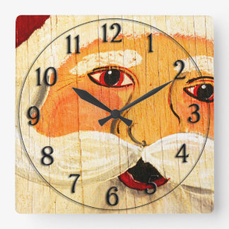 Vintage Painted Santa Clause Face Weathered Square Wall Clock
