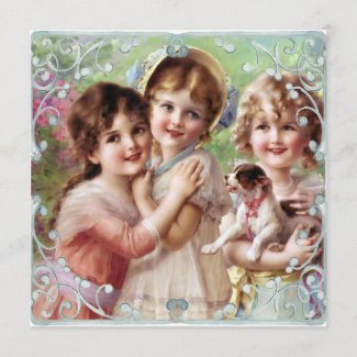 Vintage Painted Sisters Flat Card Proverbs 3:17