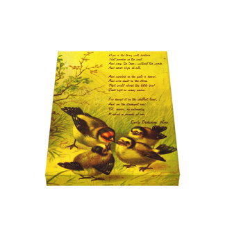 Vintage Painted Sparrow Wrapped Canvas Print