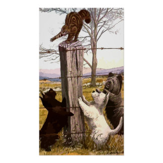 Vintage Painted Terriers and Bobcat Poster