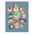 Vintage Painted Toy Story Characters Postcard