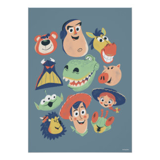 Vintage Painted Toy Story Characters Poster