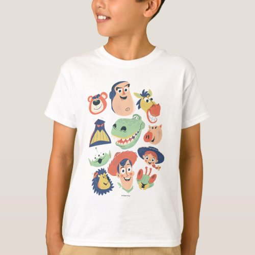 Vintage Painted Toy Story Characters T_Shirt