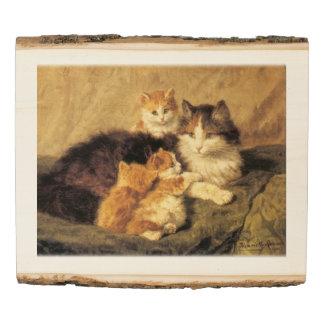 Vintage painting Contentment Henriëtte Ronner-Knip Wood Panel