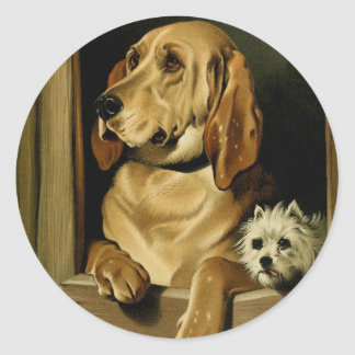 Vintage Painting: Dignity and Impudence Classic Round Sticker