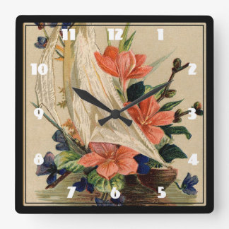 Vintage Painting - Flowers in a Sailboat. Square Wall Clock