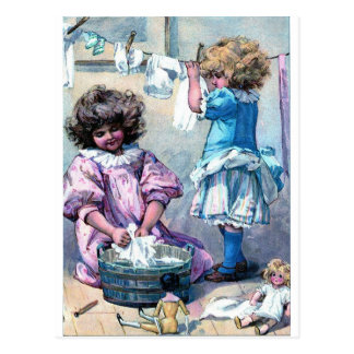 Vintage painting girls washing clothes laundry day postcard