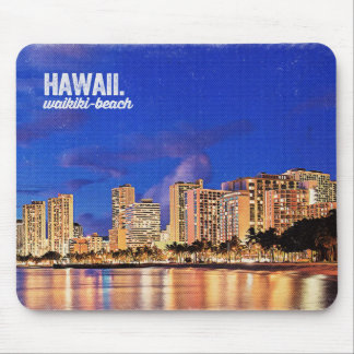 Vintage Painting Hawaii Waikiki Beach Travel Mouse Pad