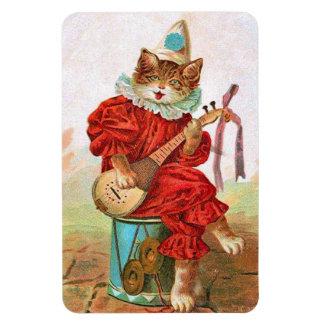 Vintage Painting Jester Cat Drum Mandolin Magnet