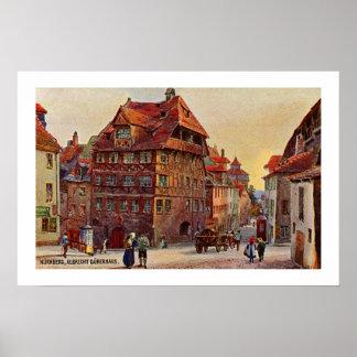Vintage painting Nürnberg Albrecht Dürer house art Poster