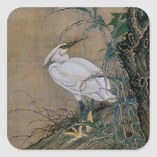 Vintage Painting Of A Bird With Flowers Square Sticker