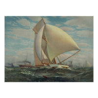 Vintage Painting of a Fast Sloop Sailboat (1895) Poster