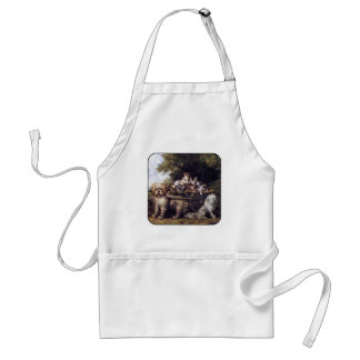 Vintage Painting of Dogs & Cars Touring Provence Adult Apron
