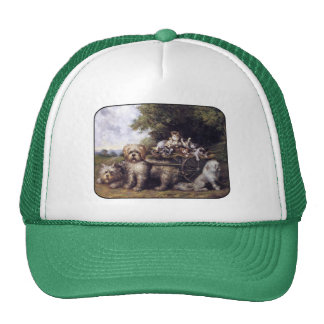 Vintage Painting of Dogs & Cars Touring Provence Trucker Hat