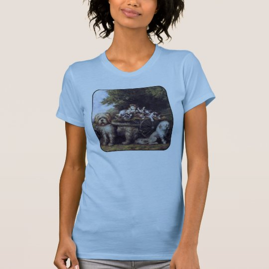 Vintage Painting of Dogs & Cats Touring Provence T-Shirt