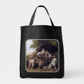Vintage Painting of Dogs & Cats Touring Provence Tote Bag