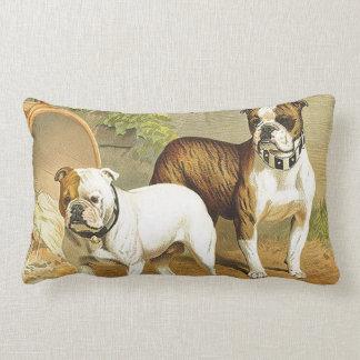 Vintage Painting of English Bulldogs Throw Pillows