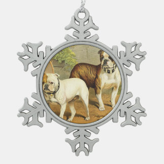 Vintage Painting of English Bulldogs Snowflake Pewter Christmas Ornament