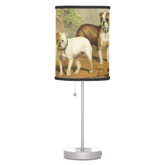 Vintage Painting of English Bulldogs Table Lamp