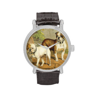 Vintage Painting of English Bulldogs Wrist Watch