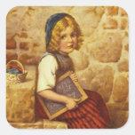 Vintage Painting of Gretel Sitting on Steps Square Sticker