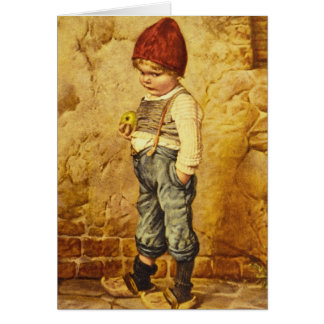 Vintage Painting of Hansel Holding an Apple Card