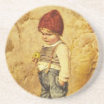 Vintage Painting of Hansel Holding an Apple Drink Coaster