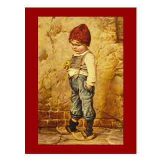 Vintage Painting of Hansel Holding an Apple Postcard