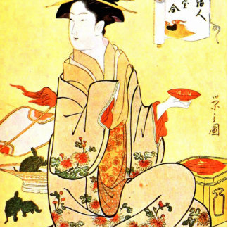 Vintage Painting Of Japanese Woman Serving Tea Cutout