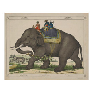 Vintage Painting of Men Riding an Elephant Poster